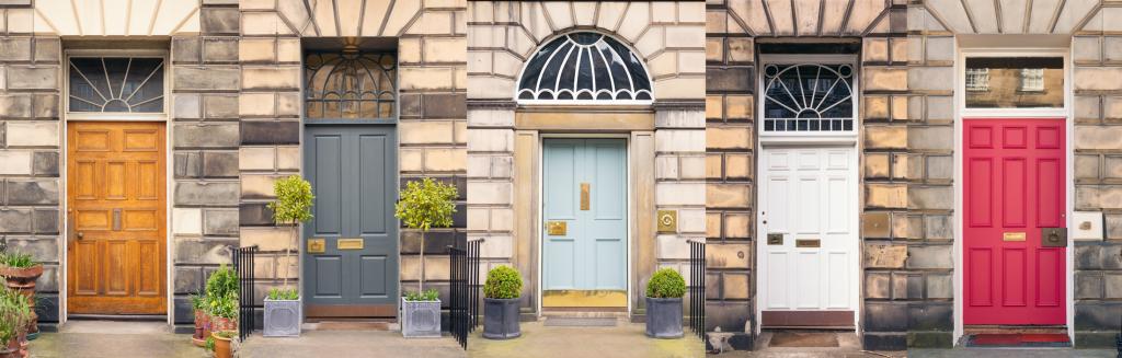 5 front doors all dislaying mini sash windows